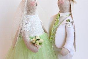 """Свадебная пара зайцев """"Подснежники ( нежность весны)"""" - Описание"""