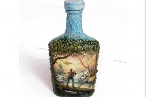 Декор пляшки в подарунок чоловікові «Запеклому рибалці»