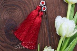 Шелковые серьги-кисти Red