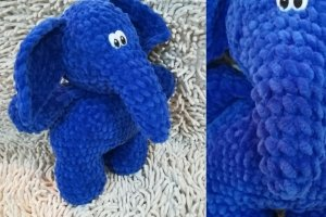 Плюшева іграшка синій Слон - ручна робота