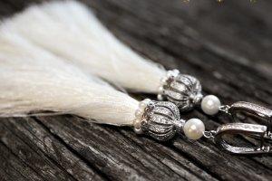 Сережки китиці, срібло 925 застібки та натуральні перли