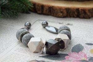 Намисто валяне дерев'яне стильний подарунок - Опис