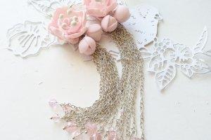 Сережки довгі з полімерної глини Сакура