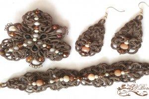 Комплект прикрас брошка, браслет і сережки фріволіте, анкарс - ІНШІ РОБОТИ