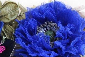 Брошь- заколка «Синий Мак». Цветы из ткани - ІНШІ РОБОТИ