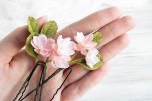 Шпильки с маленькими цветами Розовая нежность - Опис