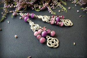 Рожево фіолетові сережки з котячим оком - Опис