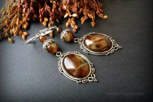 Агатові коричневі сережки зі сріблом - Опис