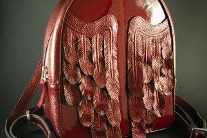 """Шкіряний рюкзак """"Maroon Wings"""" - ІНШІ РОБОТИ"""