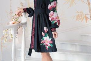 Платье из натурального льна синего цвета с вышивкой - Опис