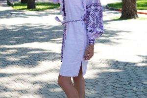 Платье сиреневого цвета с вышивкой - ДРУГИЕ РАБОТЫ