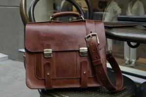 Мужской кожаный портфель ручной работы  - Опис