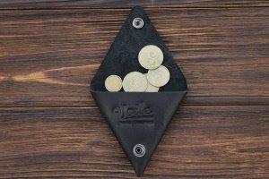 Робота Монетниця ручної роботи зі шкіри Краст VOILE cn1-kblk