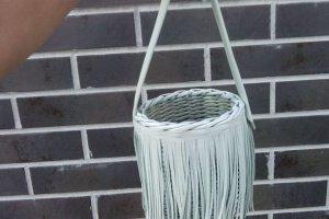 Робота Плетеная сумочка с тканевым чехлом на кулиске диаметр 13см