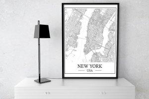 """Робота Графічний постер """"Карта міста New York"""""""