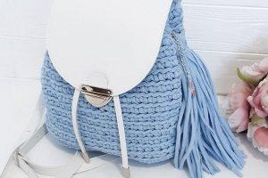 """Рюкзачок """"Блакитний"""" з трикотажної пряжі - Опис"""