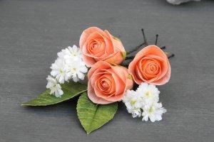 Шпильки для волосся з трояндами і квітами гіпсофіли - Опис