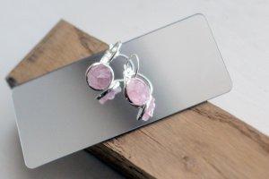 Серьги петли. Розовый кварц насыщенный - Описание