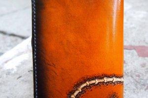 Кожаный кошелек на молнии Кот - Опис