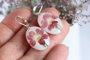 Сережки з рожевим флоксом • серьги с розовым цветком - Опис