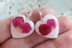 Сережки серця з пелюстками троянди • Серьги сердце роза - Опис