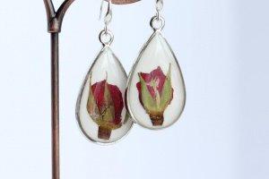 Білі Сережки краплі з трояндами • белые серьги капли розы - Опис