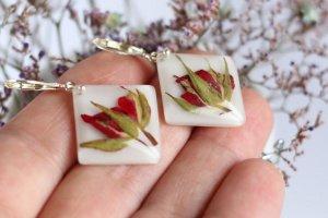 Сережки з трояндами • серьги с красными розами - Опис