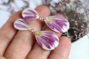 Сережки гвіздки з рожевим сухоцвітом • розовые серьги - Опис