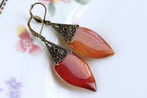 Сережки з осінніх листочків • Листики красно-оранжевые - Опис