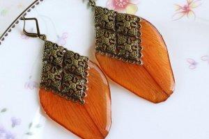 Сережки з пелюсток лілії • Крупные Серьги лепестки оранжевые - Опис