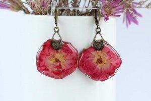 Червоно - малинові сережки з трояндами • Серьги  розы  - Опис