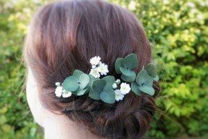 Шпильки з маленькими квітами гіпсофіли і листям евкаліпта - ІНШІ РОБОТИ