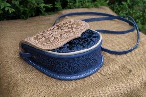 сумка шкіряна Софійка синьо- бежева - Описание