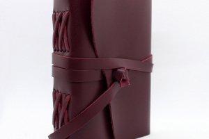 Жіночий шкіряний блокнот кольору бордо