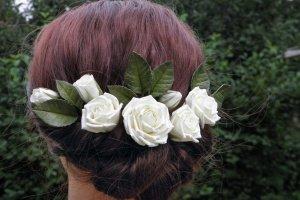 Весільні шпильки з трояндами айвори, - Опис