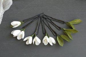 Білі шпильки для волосся з квітами пролісками - ІНШІ РОБОТИ