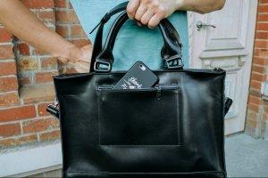 Премиальная кожаная мужская сумка  Черный мужской портфель  - Опис