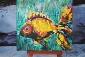 """Робота Авторська МІНІ-КАРТИНА """"Рибка, яка здійснює мрії"""","""