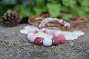 Робота Рожеве вяляне намисто, буси, етно коралі, чудовий подарунок