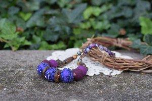 Робота Валяне фіолетове намисто, коралі із шерсті, подарунок, етно
