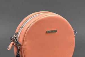 Кругле шкіряне жіноча сумочка Tablet коралова - Опис