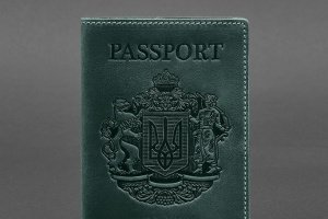Шкіряна обкладинка для паспорта з українським гербом зелена - ІНШІ РОБОТИ