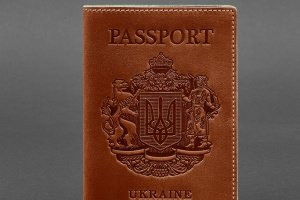 Робота Шкіряна обкладинка для паспорта з українським гербом коричнева