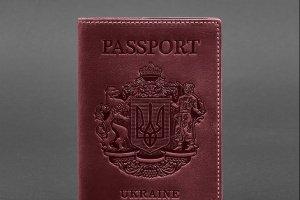 Робота Шкіряна обкладинка для паспорта з українським гербом бордова