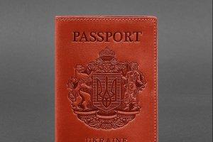 Шкіряна обкладинка для паспорта з українським гербом коралова - ІНШІ РОБОТИ