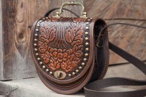 Робота Коричневая кожаная сумка с орнаментом Бохо через плечо