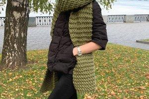 """Довгий шарф """"Хакі"""" з товстої вовняної пряжі - ІНШІ РОБОТИ"""