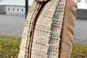 """Довгий шарф """"Беж"""" з товстої вовняної пряжі - ІНШІ РОБОТИ"""