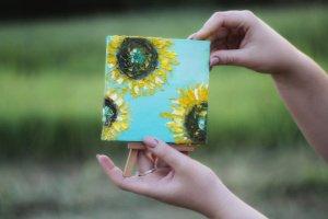 """Робота Міні-картина маслом """"Три сонця"""""""