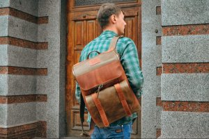 Робота Кожаный рюкзак для города, Рюкзак для ноутбука,